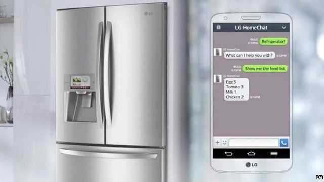 A LG fridge and a smartphone