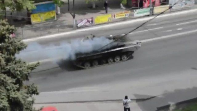 Tank reportedly in streets of Mariupol