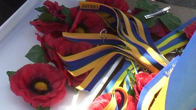 Poppies and ribbons on streets of Kiev