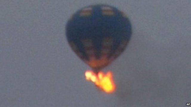 The balloon on fire