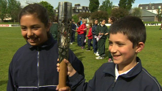 Children with the baton