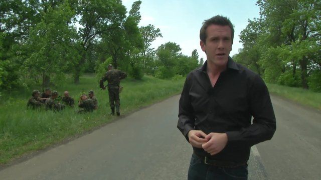 Mark Lowen at the checkpoint, 40 miles south of Donetsk