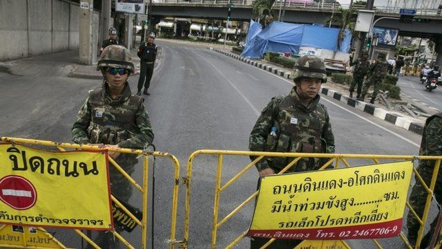 Soldiers standing guard in Bangkok