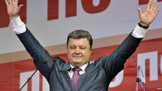 This handout photo released by the Poroshenko press service shows Ukrainian independent presidential candidate Petro Poroshenko greeting supporters during an election campaign rally on May 22