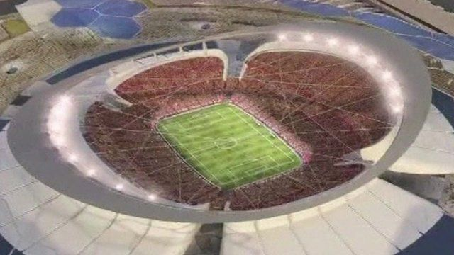 A computer generated image of a stadium to be built in Qatar