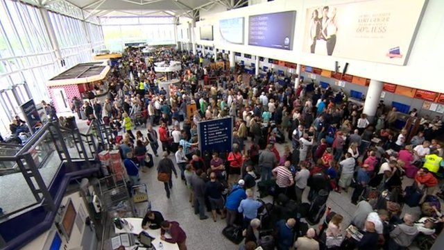 Stranded passengers at Bristol Airport