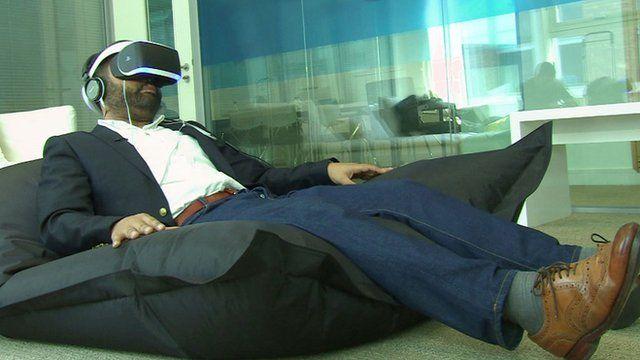 Marc Cieslak using Sony's VR headset