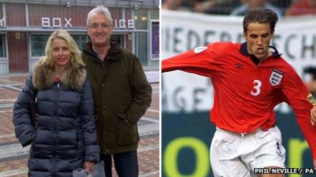 Phil and Bev Neville (left) and Phil Neville (right)