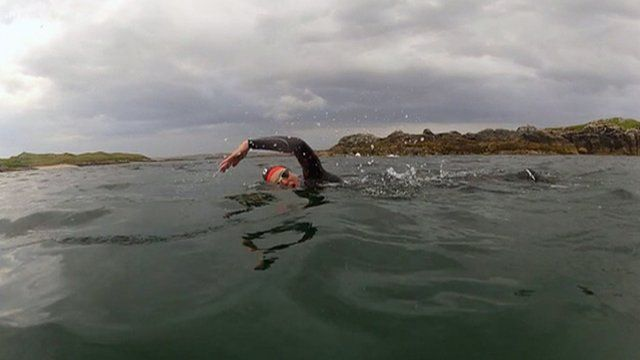 Laura swimming off the coast of the Isle of Lewis