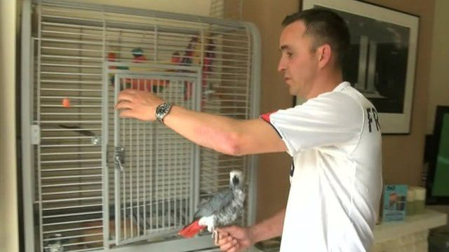 Fran Sheridan with his parrot