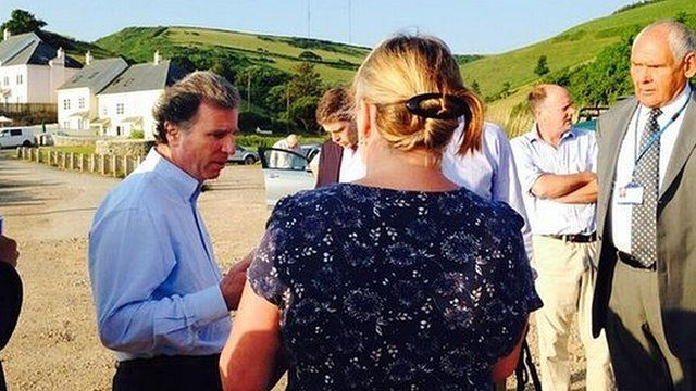 Oliver Letwin MP speaking to Hallsands residents