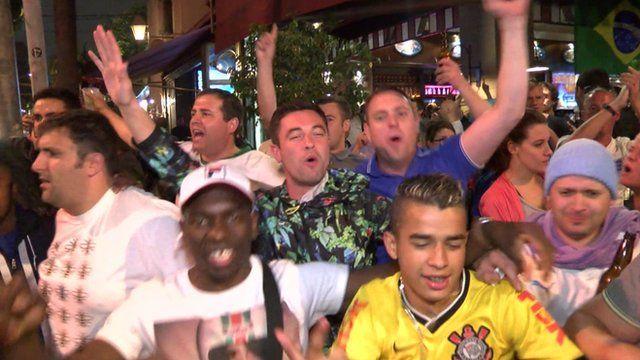 Football fans in Sao Paulo