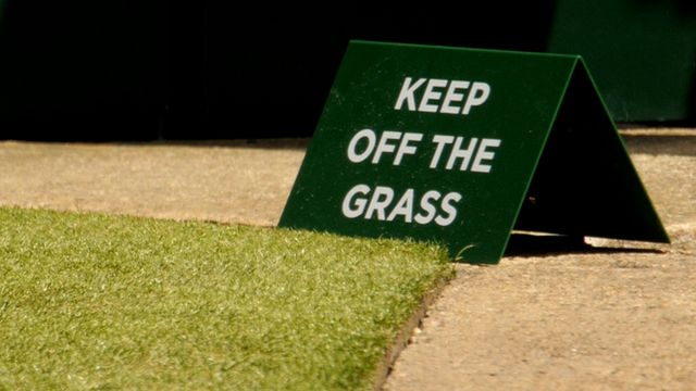 'Keep off the grass' sign