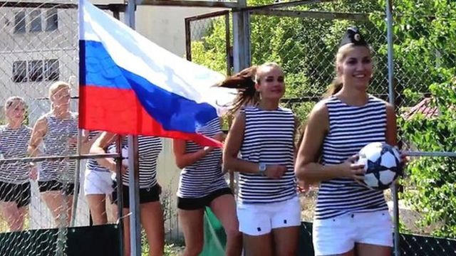 Officers daughters in Crimea cheering on Russia
