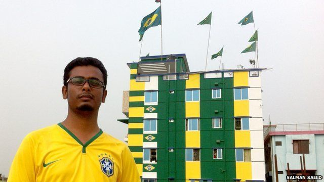 Bangladeshi Brazil fan and flats he painted in Brazil colours