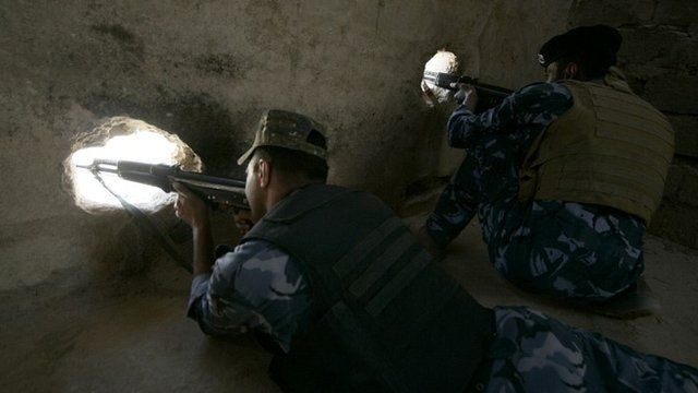 Iraqi security forces on patrol looking for ISIL militants