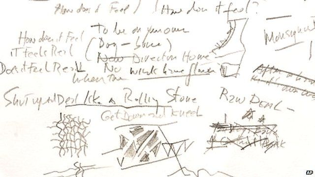Handwritten draft of Bob Dylan's Like a Rolling Stone