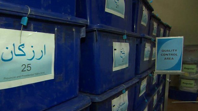 boxes of vote results sheets inside count centre