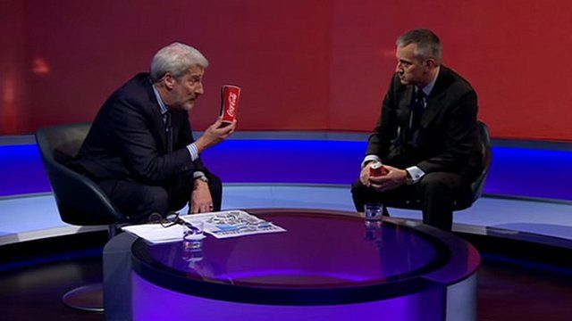 Jeremy Paxman with a can of Coca-cola