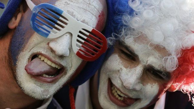 French fans wait for the beginning of the group E World Cup soccer match between Ecuador and France at the Maracana Stadium in Rio de Janeiro, Brazil, Wednesday, June 25, 2014
