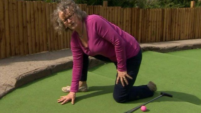 Jenny Jones on mini-golf course