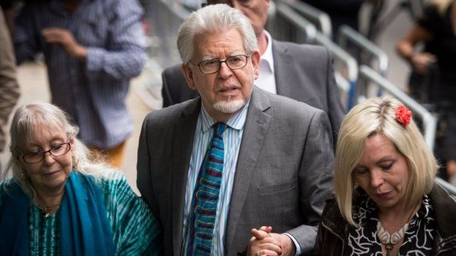 Rolf Harris leaves court flanked by his wife Alwen and daughter Bindi