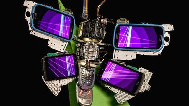 butterfly made from mobile phones