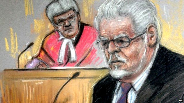 Court artist drawing by Elizabeth Cook of Rolf Harris in the dock at Southwark Crown Court, London on Tuesday May 27, 2014