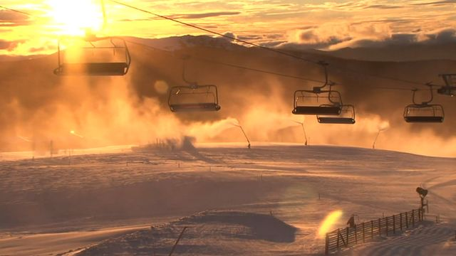 Ski lifts over Mount Buller in Australia