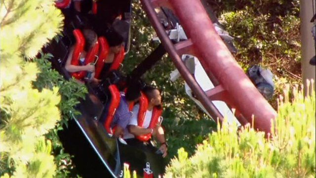 People stuck on a rollercoaster