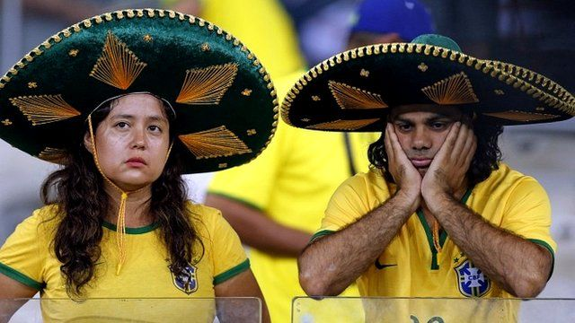 Brazil fans looking dismayed