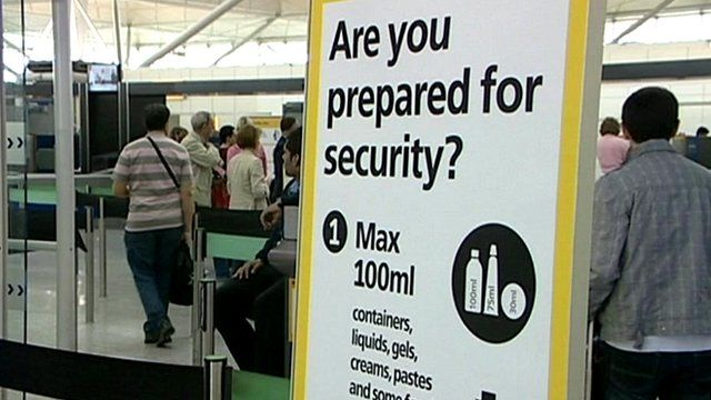 Airport security sign