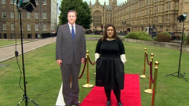 Tanya Gold with David Cameron cut-out on a red carpet