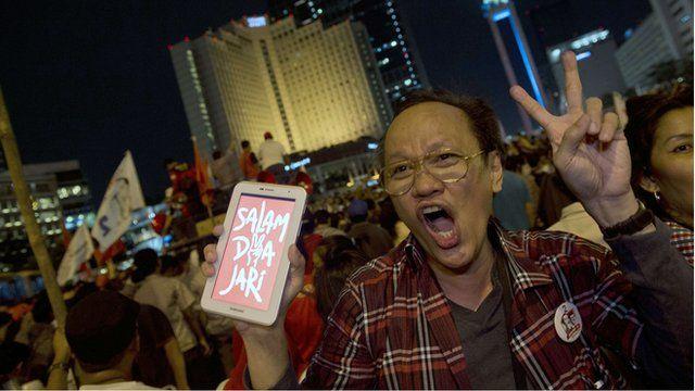 Supporters of Indonesian presidential candidate Joko Widodo