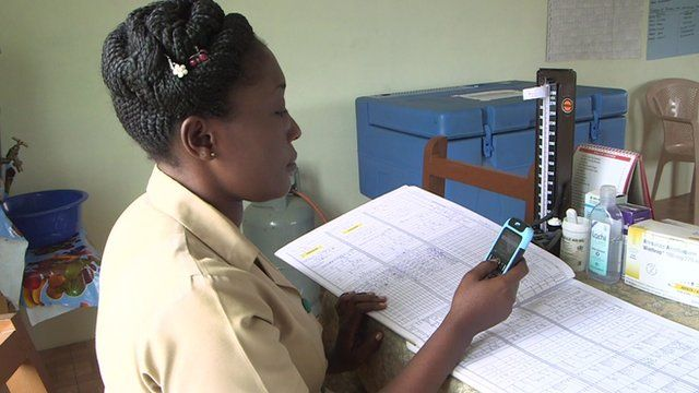 Community health officer uploading data