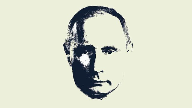 Graphic of Vladimir Putin's face