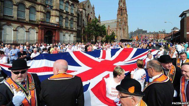 Orange Order parade in north Belfast last year