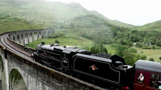 Steam train on the Glenfinnan Viaduct