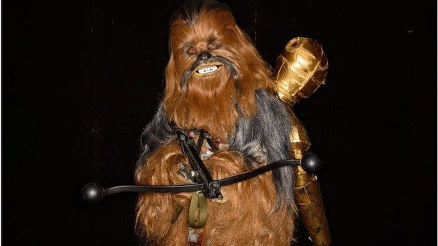 A person dressed as Chewbacca at London's Comic Con 2014