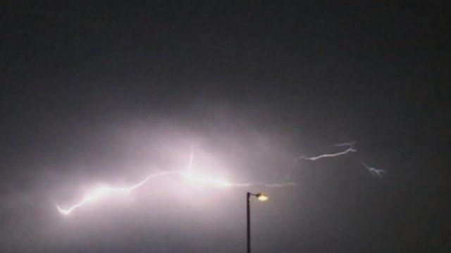 Still of lightning strike over Hounslow, west London - courtesy Michael McGeary