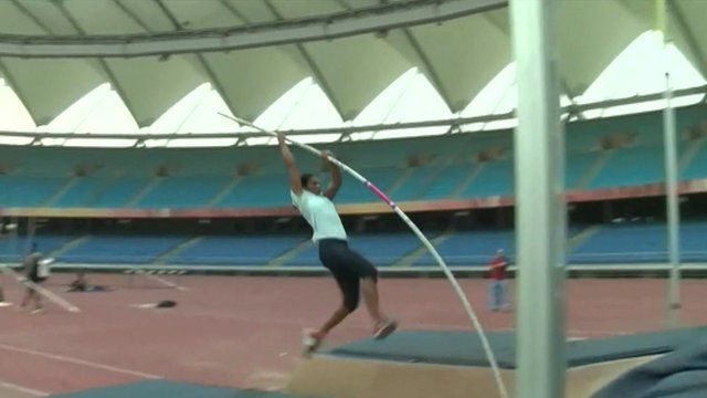 athlete in Delhi's olympic stadium