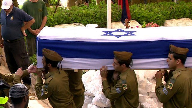 Israeli soldier's coffin being carried