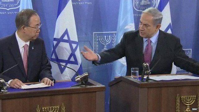 Ban Ki-moon and Benjamin Netanyahu