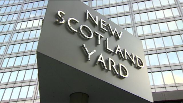 Sign outside New Scotland Yard building in London