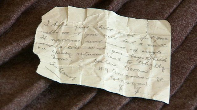 Note found in a World War One kilt