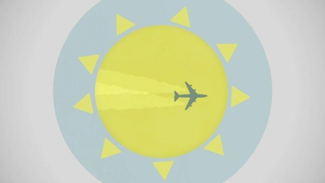 Graphic of plane flying across the sun