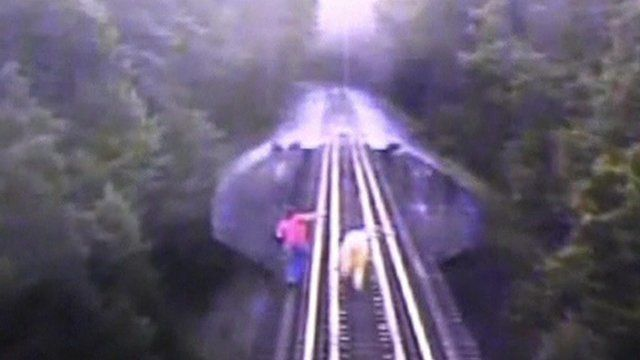 CCTV filmed from inside train as it approaches two women on the railway bridge