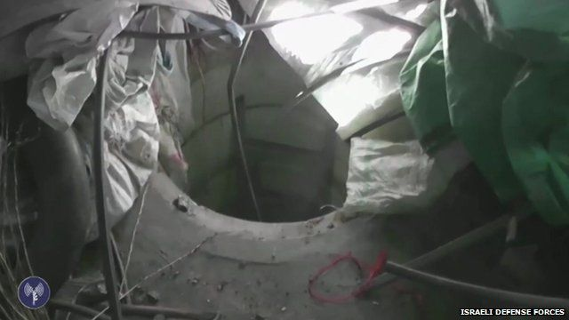 "Israeli Defense Forces footage showing ""tunnel entrance"""