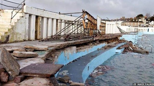 Jubilee Pool Lido, Penzance, damaged by storm