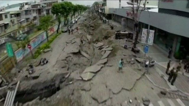 Still from footage taken by drone shows aftermath of Taiwan gas blasts